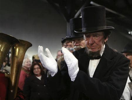A re-enactor portraying Abraham Lincoln at the Gettysburg, Pennsylvania train station