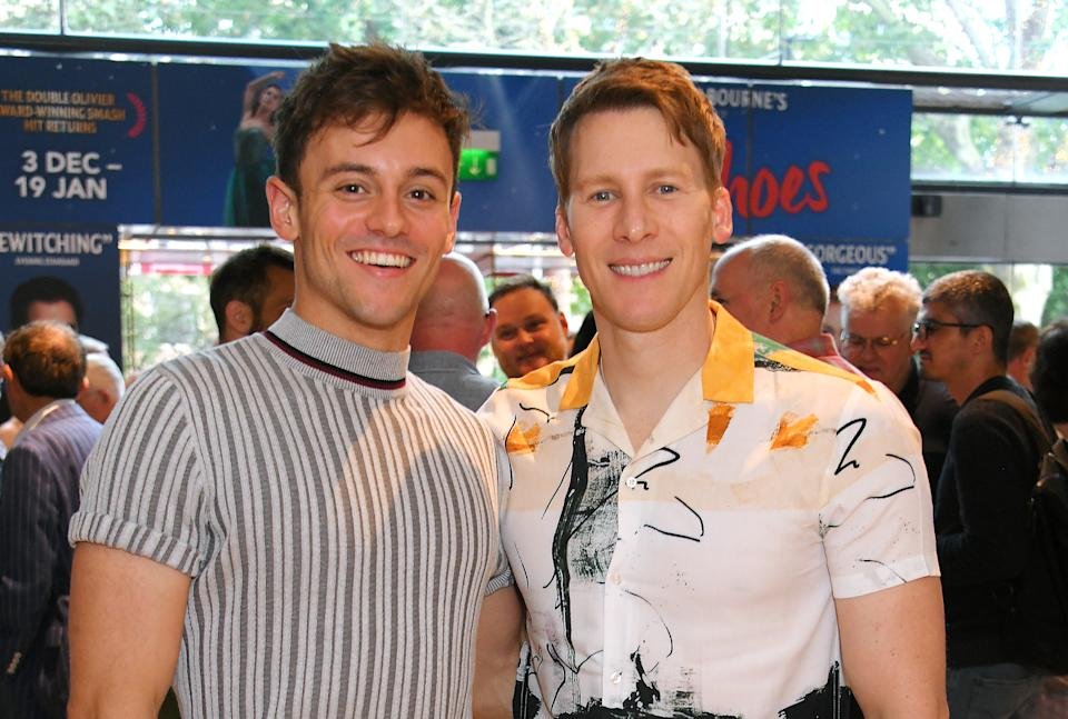LONDON, ENGLAND - AUGUST 11:  Tom Daley (L) and Dustin Lance Black attend the press night performance of