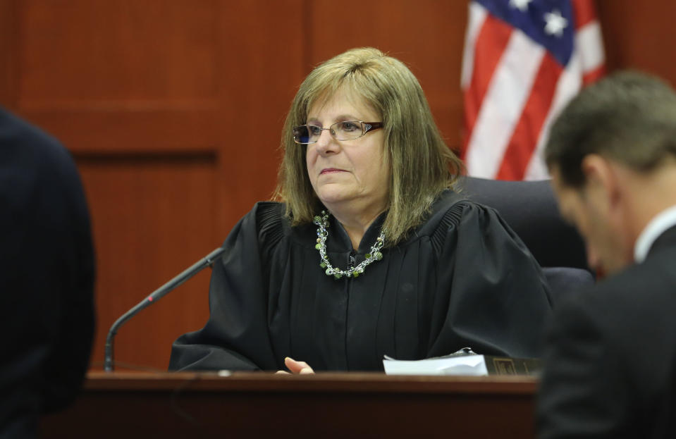 Judge Debra Nelson rules on key issues during George Zimmerman's trial in Seminole circuit court in Sanford, Fla. Wednesday, July 10, 2013. Zimmerman has been charged with second-degree murder for the 2012 shooting death of Trayvon Martin. (AP Photo/Orlando Sentinel, Gary W. Green, Pool)
