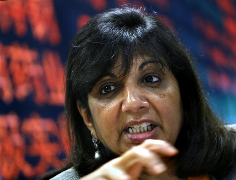 File photo of Mazumdar-Shaw, chairman and managing director of Biocon Ltd, speaking during the Reuters India Summit in Bangalore
