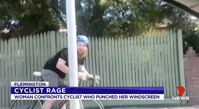The man claims the woman ran him off his bike. Source: 7 News