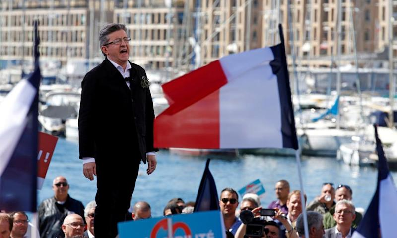 Jean-Luc Mélenchon at rally in Marseille, France.