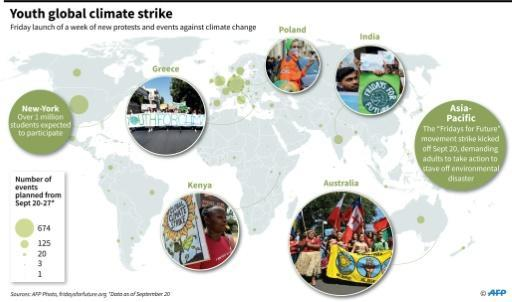 """Map of protests and actions planned during the """"Week for the Future"""" scheduled from September 20 to 27, according to the Fridays For Future movement"""