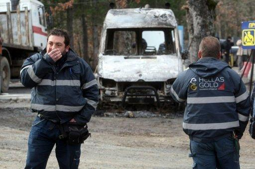 Hooded protesters firebomb Greek mining site