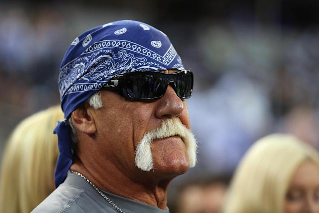 ARLINGTON, TX - SEPTEMBER 08: Former wrester, Hulk Hogan at AT&T Stadium before a Sunday night game between the New York Giants and the Dallas Cowboys on September 8, 2013 in Arlington, Texas. (Photo by Ronald Martinez/Getty Images)