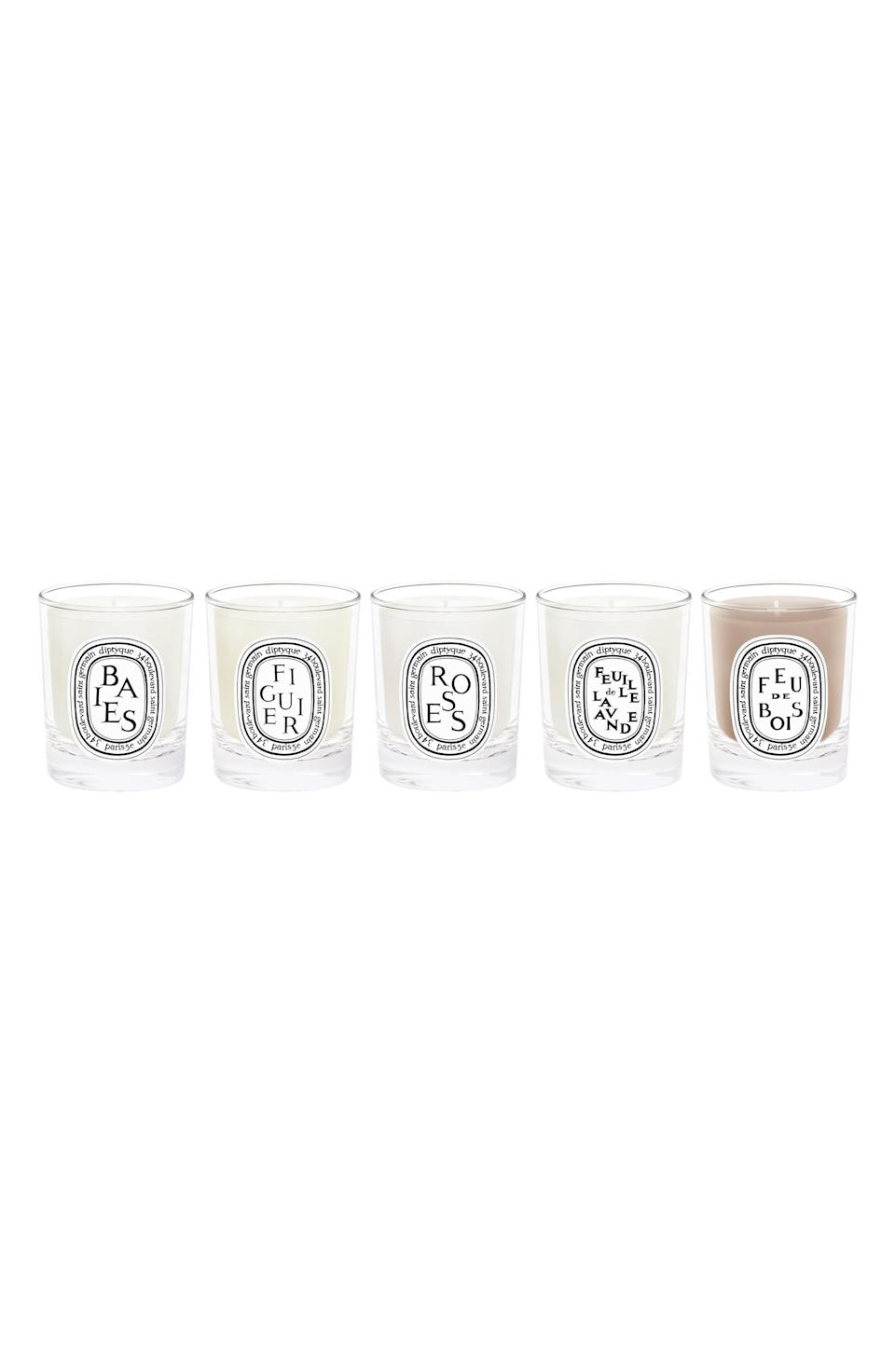 """<p><strong>Diptyque</strong></p><p>nordstrom.com</p><p><a href=""""https://go.redirectingat.com?id=74968X1596630&url=https%3A%2F%2Fwww.nordstrom.com%2Fs%2Fdiptyque-travel-size-scented-candle-set-82-value%2F5894239&sref=https%3A%2F%2Fwww.harpersbazaar.com%2Fbeauty%2Fg36991550%2Fnordstrom-anniversary-sale-beauty-deals%2F"""" rel=""""nofollow noopener"""" target=""""_blank"""" data-ylk=""""slk:Shop Now"""" class=""""link rapid-noclick-resp"""">Shop Now</a></p><p><strong>Sale: $60</strong></p><p><strong>Value: $82</strong></p><p>Luxe candle lovers, rejoice. This Anniversary Sale-exclusive set is comprised of five of Diptyque's all-time most popular scents. Each travel-sized Diptyque candle comes out to only $12 with this deal—so don't think twice.</p>"""