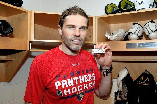 SAN JOSE, CA - FEBRUARY 15: Jaromir Jagr #68 of the Florida Panthers shows the puck used after getting his 1900th NHL career point on his 45th birthday during a NHL game against the San Jose Sharks at SAP Center at San Jose on February 15, 2017 in San Jose, California. (Photo by Don Smith/NHLI via Getty Images)