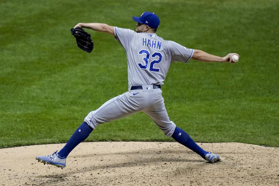 Kansas City Royals relief pitcher Jesse Hahn throws during the seventh inning of a baseball game against the Milwaukee Brewers Saturday, Sept. 19, 2020, in Milwaukee. (AP Photo/Morry Gash)