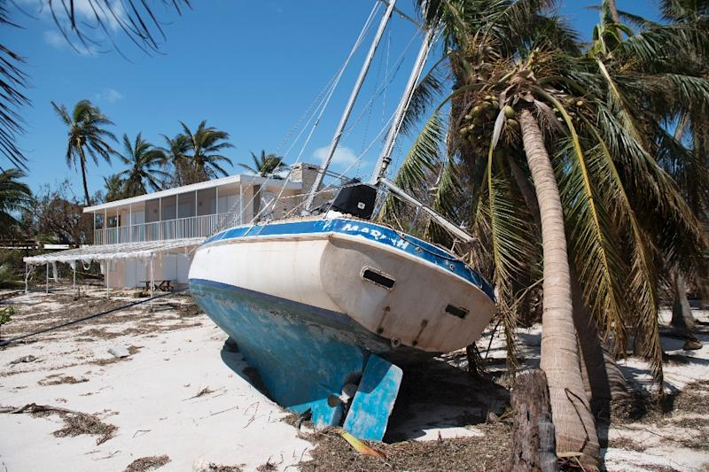 Hurricane Irma's fierce winds brought sailboats ashore in Islamorada, in the Florida Keys (AFP Photo/SAUL LOEB)