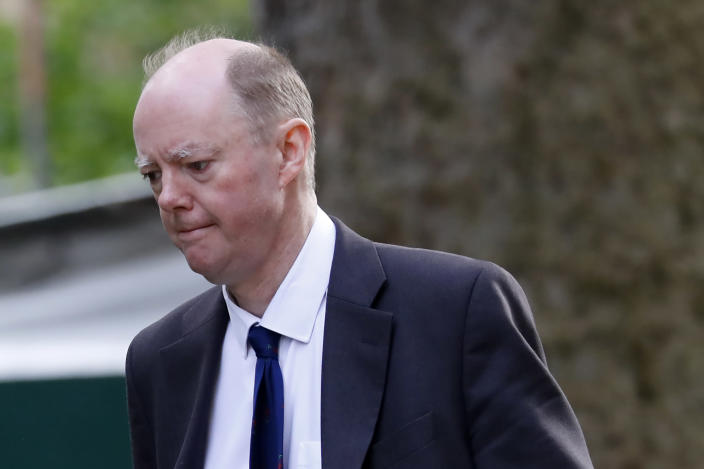 Chief medical officer Chris Whitty arrives in Downing Street for a coronavirus briefing. (Getty)