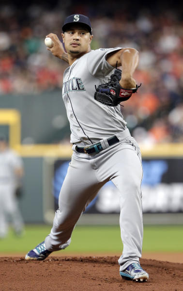 Seattle Mariners starting pitcher Sam Tuivailala throws during the first inning of a baseball game against the Houston Astros, Sunday, Aug. 4, 2019, in Houston. (AP Photo/Michael Wyke)