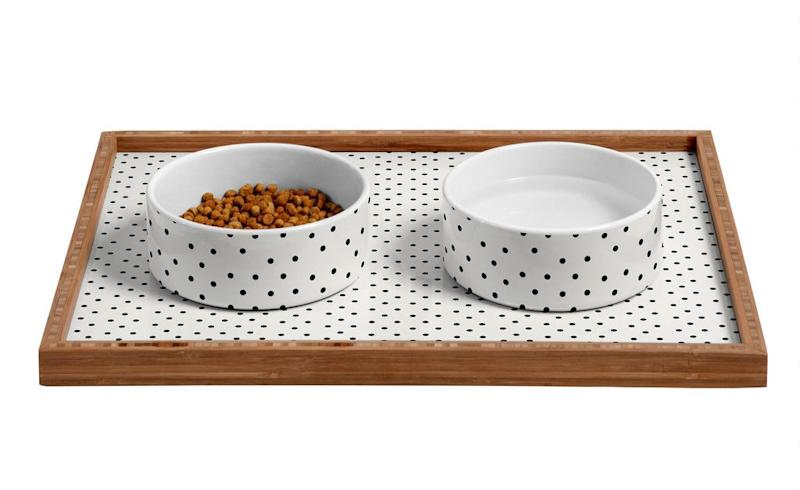 DENY Designs Polka Dot Ceramic Dog Bowl | Vanillapup