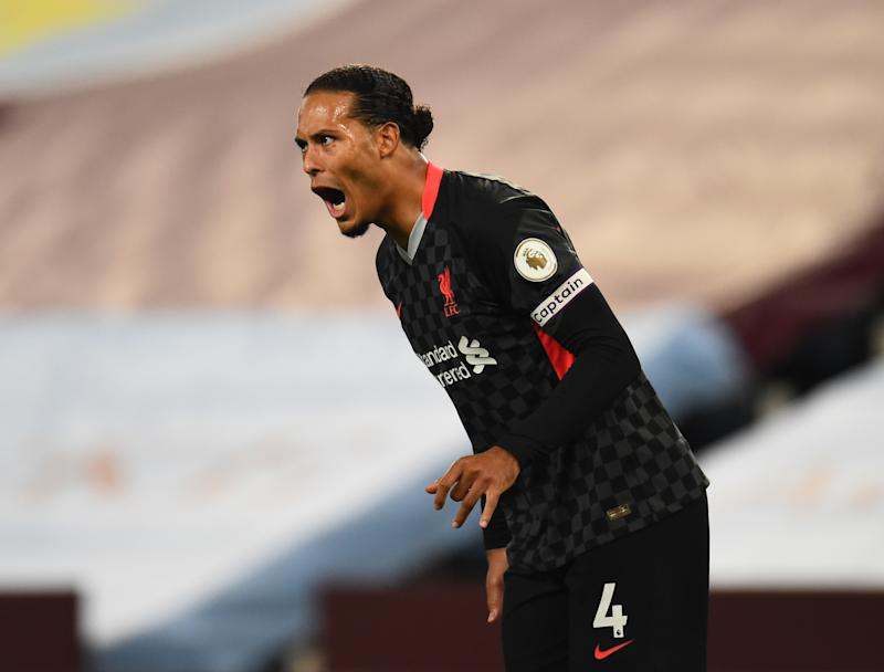 BIRMINGHAM, ENGLAND - OCTOBER 04: (SUN OUT,THE SUN ON SUNDAY OUT) Virgil van Dijk of Liverpool during the Premier League match between Aston Villa and Liverpool at Villa Park on October 04, 2020 in Birmingham, England. (Photo by Andrew Powell/Liverpool FC via Getty Images)