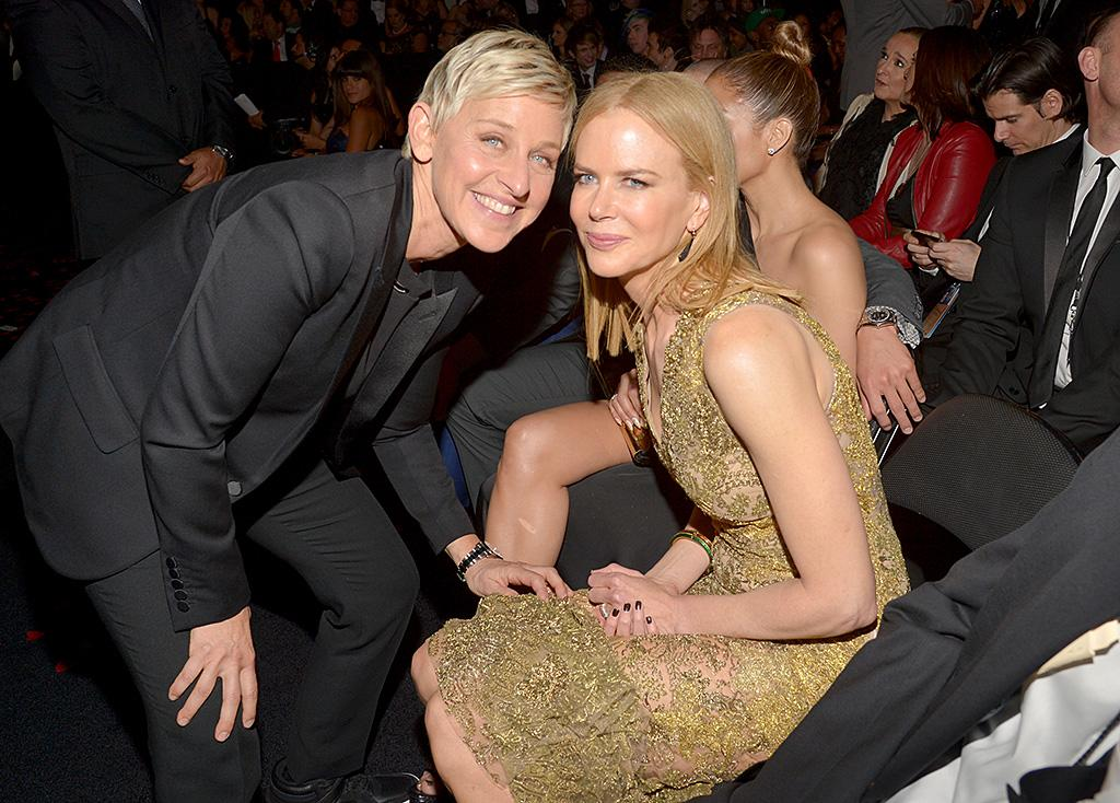 LOS ANGELES, CA - FEBRUARY 10: TV personality Ellen DeGeneres and actress Nicole Kidman attend the 55th Annual GRAMMY Awards at STAPLES Center on February 10, 2013 in Los Angeles, California.  (Photo by Lester Cohen/WireImage)