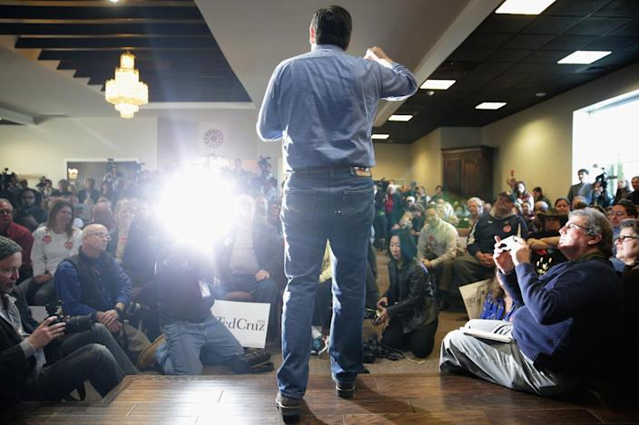 <p>Ted Cruz answers questions during a campaign town hall at the Crossing Life Church, Feb. 2, 2016, in Windham, N.H. Cruz emerged at the top of a crowded GOP presidential field after winning Monday's Iowa caucuses. <i>(Photo: Chip Somodevilla/Getty Images)</i></p>
