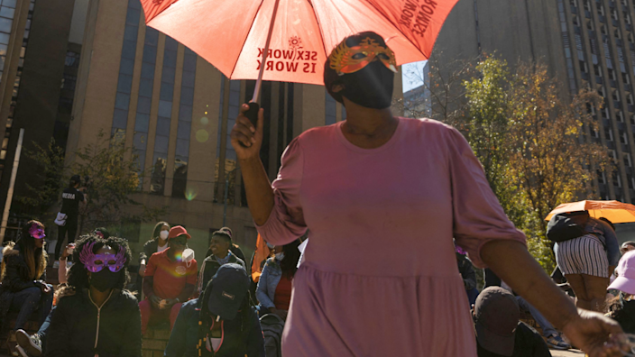 A demonstration in support of decriminalising sex work in Johannesburg, South Africa - Thursday 27 May 2021