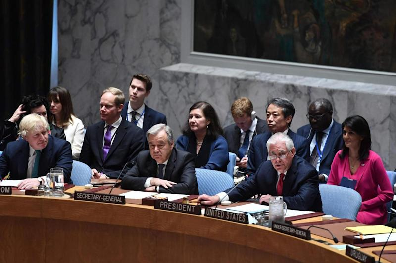 US Secretary of State Rex Tillerson speaks as Boris Johnson and UN Secretary General Antonio Guterres listen. (AFP/Getty Images)