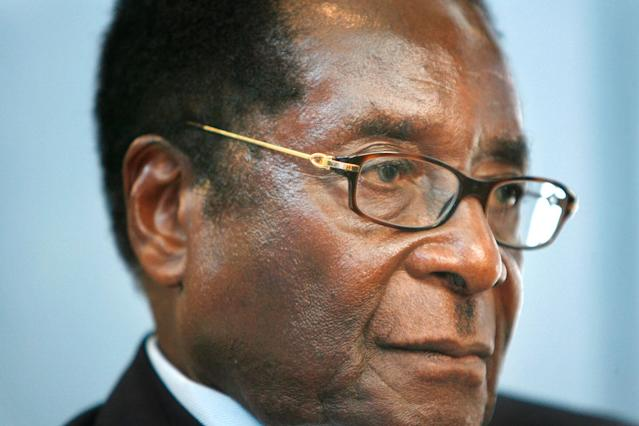 <p>Mugabe is interviewed at United Nations headquarters during the 63rd session of the U.N. General Assembly in 2008. (Photo: Seth Wenig/AP) </p>