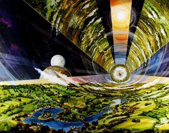An artist's depiction of a vast cylindrical space colony ship containing more than a million people on a voyage to the stars. Artist Rick Guidice created this vision for NASA in the 1970s.