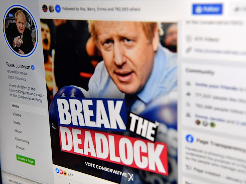 A photo illustration taken in December 2019 shows Boris Johnson's Facebook page (AFP via Getty Images)