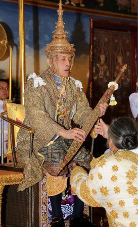 Thailand's King Maha Vajiralongkorn receives the Sword of Victory during the coronation inside the Grand Palace in Bangkok, Thailand, May 4, 2019. The Committee on Public Relations of the Coronation of King Rama X/Handout via REUTERS