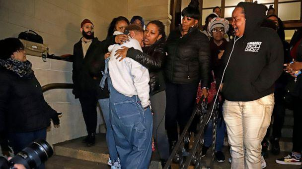 PHOTO: Michelle Kenney, center, the mother of Antwon Rose II, leaves the Allegheny County Courthouse with supporters after hearing the verdict of not guilty on all charges for a former police officer in East Pittsburgh, Pa., Friday, March 22, 2019. (AP)