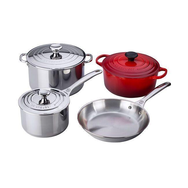"""<p><strong>Le Creuset</strong></p><p>lecreuset.com</p><p><a href=""""https://go.redirectingat.com?id=74968X1596630&url=https%3A%2F%2Fwww.lecreuset.com%2F7-piece-stainless-steel-and-cast-iron-set-factory-to-table-sale%2FSS14SS7-67.html&sref=https%3A%2F%2Fwww.goodhousekeeping.com%2Flife%2Fmoney%2Fg33563225%2Fle-creuset-factory-sale-august-2020%2F"""" rel=""""nofollow noopener"""" target=""""_blank"""" data-ylk=""""slk:Shop Now"""" class=""""link rapid-noclick-resp"""">Shop Now</a></p><p><del>$850</del><strong><br>$425</strong></p><p>Since you're going to spend the foreseeable future making all your meals from home, now's a better time than any to invest in some high-quality cookware. Thankfully, Le Creuset is taking 50% off this seven-piece set. </p>"""