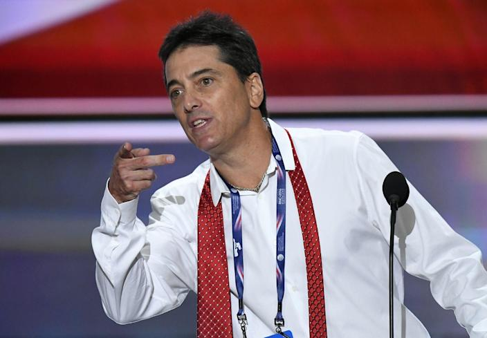 <p>Former actor Scott Baio is an avid fan of Trump. During his 2016 DNC speech, he said: 'We need Donald Trump to fix this. Is Donald Trump a messiah? No, he's just a man, a man who wants to give back to his country, America, the country that has given him everything.' (REX) </p>