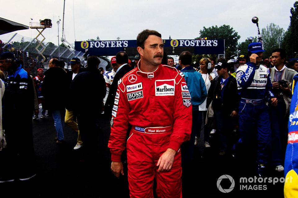"""Nigel Mansell, McLaren on the grid<span class=""""copyright"""">Ercole Colombo</span>"""