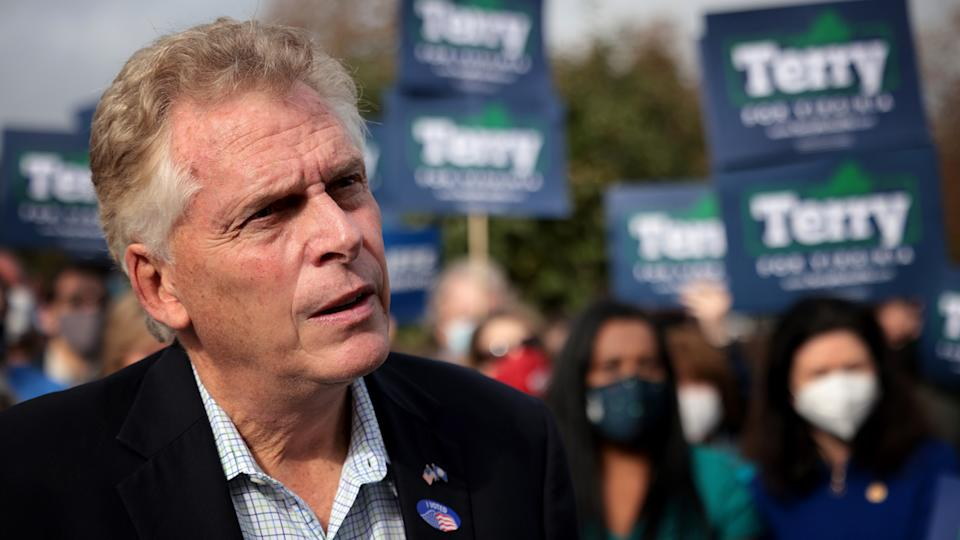 Former Virginia Gov. Terry McAuliffe, Democratic gubernatorial candidate for Virginia for a second term,  answers questions from reporters after casting his ballot during early voting at the Fairfax County Government Center October 13, 2021 in Fairfax, Virginia. (Win McNamee/Getty Images)