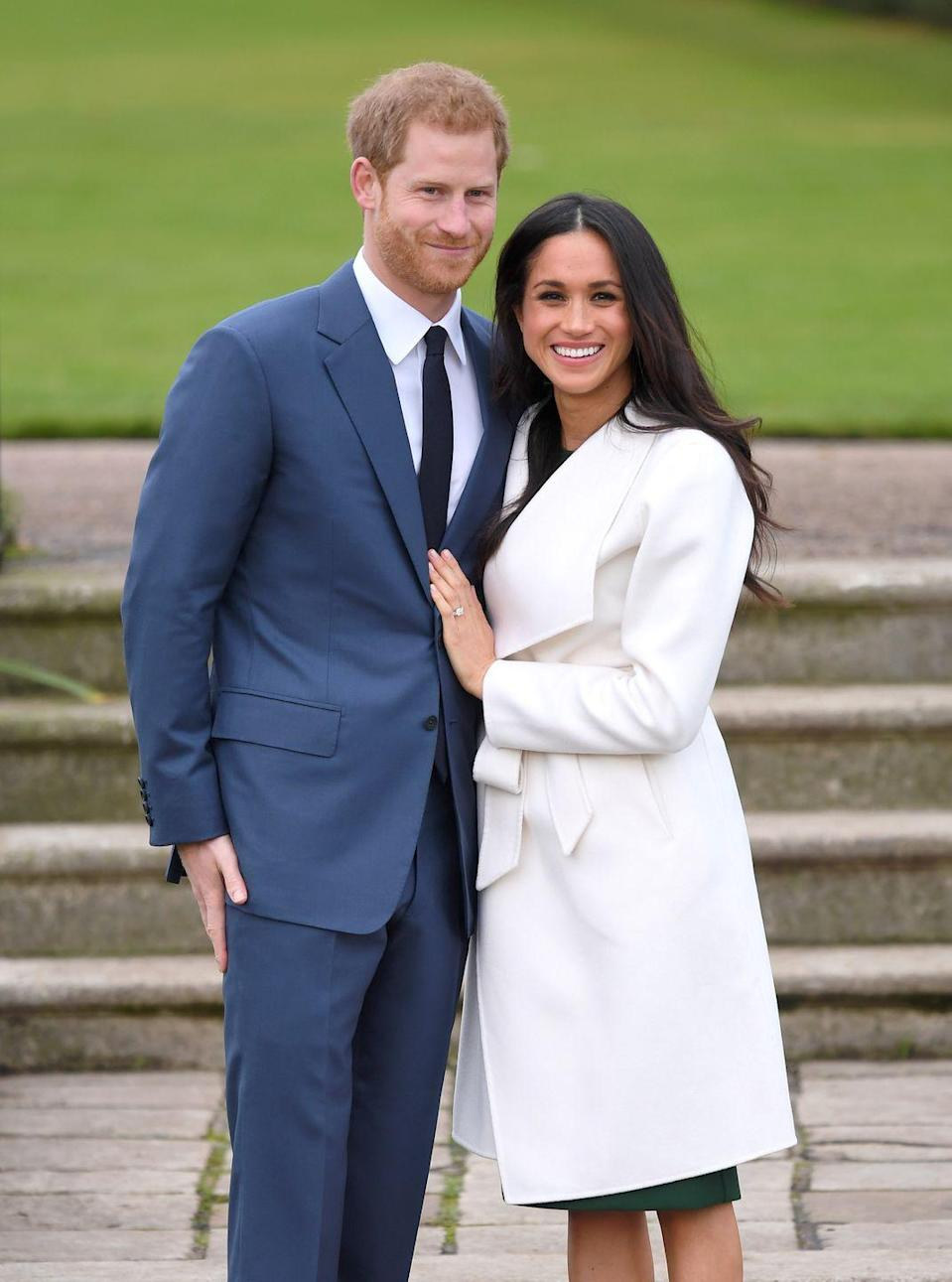 """<p>In November 2017, Prince Harry announced his engagement to American actress Meghan Markle. The happy couple <a href=""""https://www.townandcountrymag.com/society/tradition/a12198435/prince-harry-meghan-markle-engaged/"""" rel=""""nofollow noopener"""" target=""""_blank"""" data-ylk=""""slk:posed for photos at Kensington Palace"""" class=""""link rapid-noclick-resp"""">posed for photos at Kensington Palace </a>when the news was announced. Harry and Meghan quickly started planning their <a href=""""https://www.townandcountrymag.com/society/tradition/g14522381/prince-harry-meghan-markle-royal-wedding-2018-photos/"""" rel=""""nofollow noopener"""" target=""""_blank"""" data-ylk=""""slk:May 2018 royal wedding"""" class=""""link rapid-noclick-resp"""">May 2018 royal wedding</a>, which was held at St. George's Chapel at Windsor Castle.</p>"""