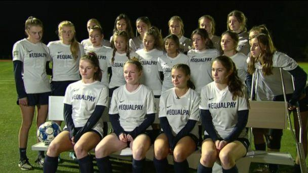 PHOTO: Players from the girls' soccer team at Burlington High School in Vermont were given yellow cards for unsportsmanlike conduct after their #EqualPay jersey caused an excessive celebration on the field and in the crows. (ABC News)