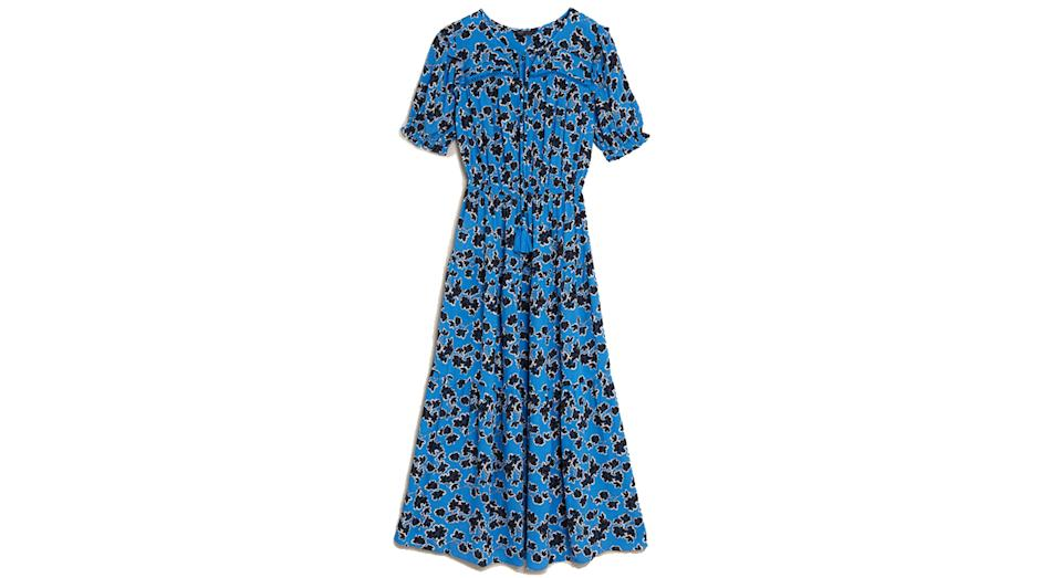 Floral Tie Neck Midaxi Waisted Dress