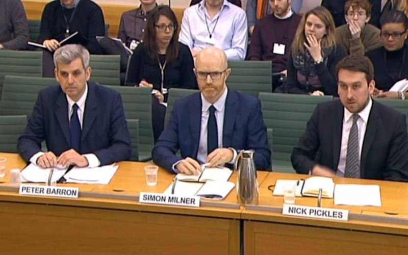 Left to right, Peter Barron, of Google, Simon Milner, of Facebook, and Nick Pickles, of Twitter - Credit: PA