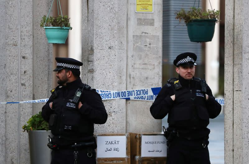 Police officers are seen outside the London Central Mosque in London