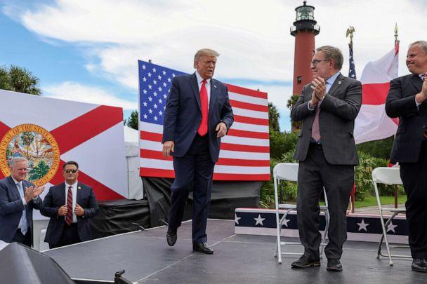 PHOTO: President Donald Trump arrives onstage during a campaign stop at Jupiter Inlet Lighthouse and Museum in Jupiter, Fla., Sept. 8, 2020. (Jonathan Ernst/Reuters, FILE)