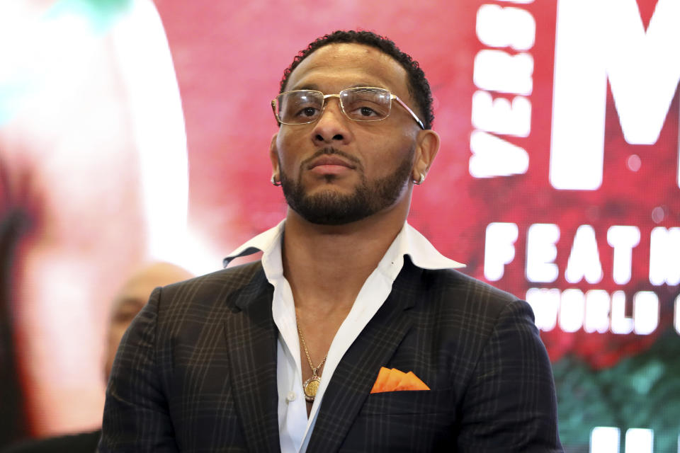 A.J. McKee is seen at a news conference promoting the Bellator Spring & Summer fight cards on Monday, March 9, 2020, in New York City. (AP Photo/Gregory Payan)