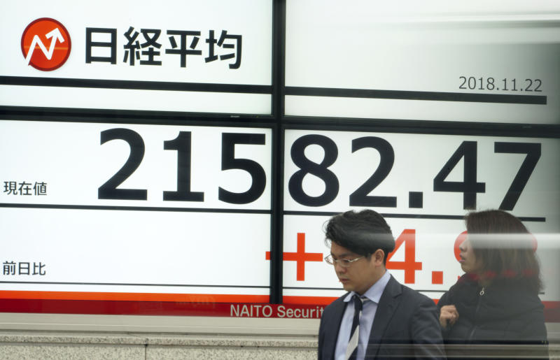 People stand in front of an electronic stock board showing Japan's Nikkei 225 index at a securities firm in Tokyo Thursday, Nov. 22, 2018. Asian markets were mostly lower on Thursday as a mixed bag of data from the United States that could point to softening growth rattled investors. (AP Photo/Eugene Hoshiko)