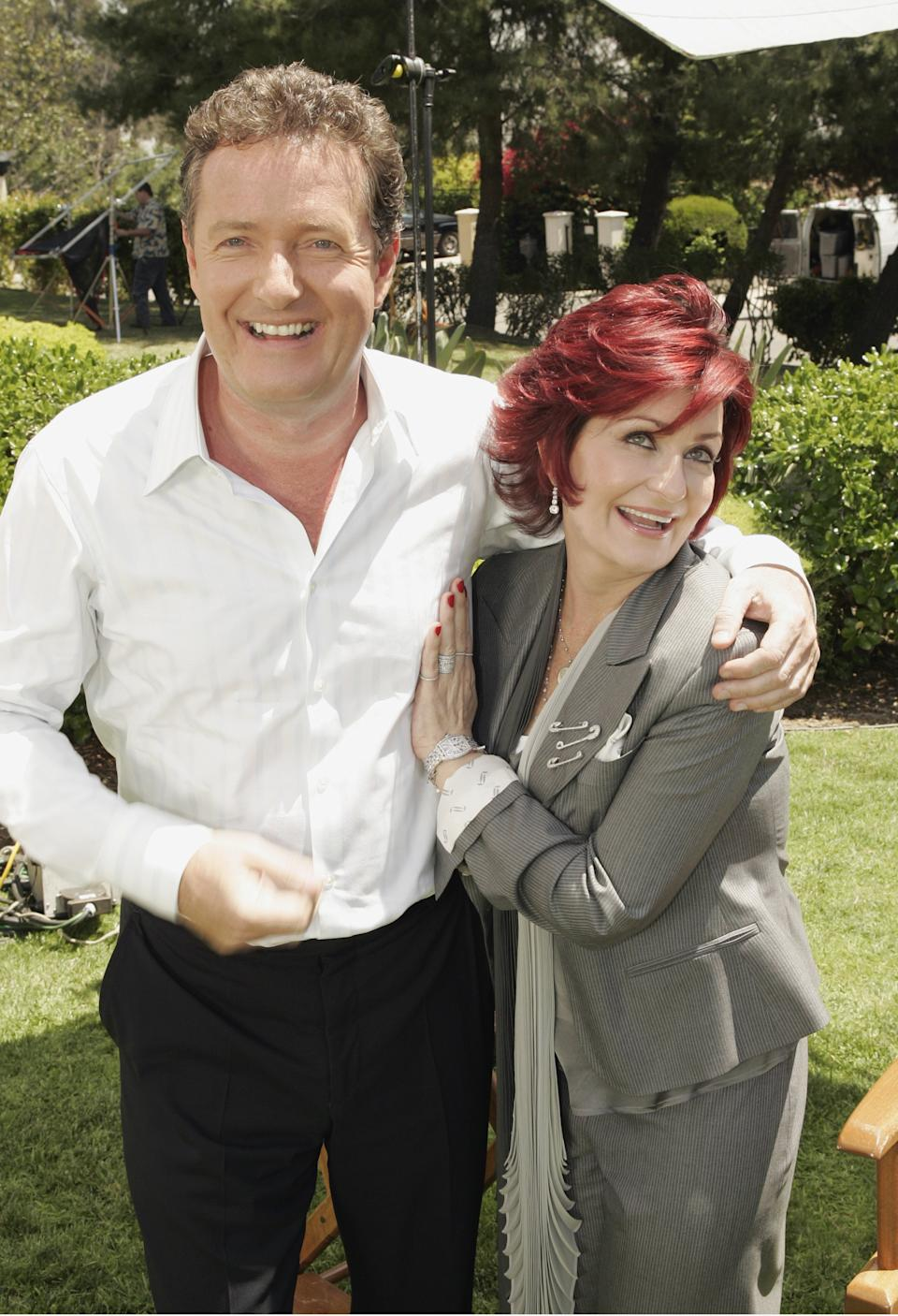 Sharon Osbourne and Piers Morgan on April 27, 2007. (Chris Haston/NBCU Photo Bank)