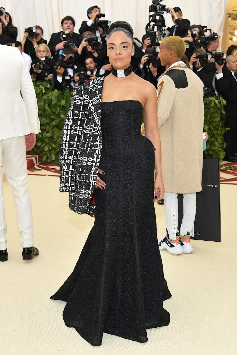 """<h1 class=""""title"""">Tessa Thompson in Thom Browne and Tiffany & Co. jewelry</h1><cite class=""""credit"""">Photo: Getty Images</cite>"""