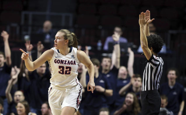 FILE - In this March 6, 2018, file photo, Gonzaga's Jill Townsend reacts after sinking a 3-point shot during the second half of the West Coast Conference tournament championship NCAA women's college basketball game against San Diego in Las Vegas. It's an injury-riddled Gonzaga women's basketball team that heads into the NCAA Tournament. The Zags will be without starting point guard Laura Stockton and key reserve Jill Townsend. (AP Photo/Isaac Brekken, File)