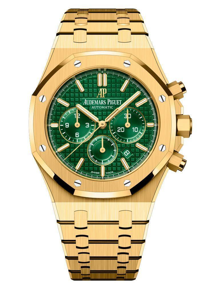 """<p><strong>Audemars Piguet</strong></p><p>audemarspiguet.com</p><p><a href=""""https://www.audemarspiguet.com/com/en/watch-collection/royal-oak/26331BA.OO.1220BA.02.html"""" rel=""""nofollow noopener"""" target=""""_blank"""" data-ylk=""""slk:Shop Now"""" class=""""link rapid-noclick-resp"""">Shop Now</a></p><p>This green and gold combination has proven to be very popular this year. Avoid bumping into someone wearing the same thing with Audemars Piguet's limited edition Royal Oak, of which there are only 125 available. </p><p>Case size: 41mm</p>"""