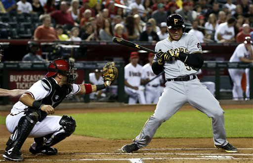 Pittsburgh Pirates' Russell Martin, right, backs away from an inside pitch as Arizona Diamondbacks' Wil Nieves reaches for the ball during the first inning of a baseball game, on Monday, April 8, 2013. (AP Photo/Ross D. Franklin)