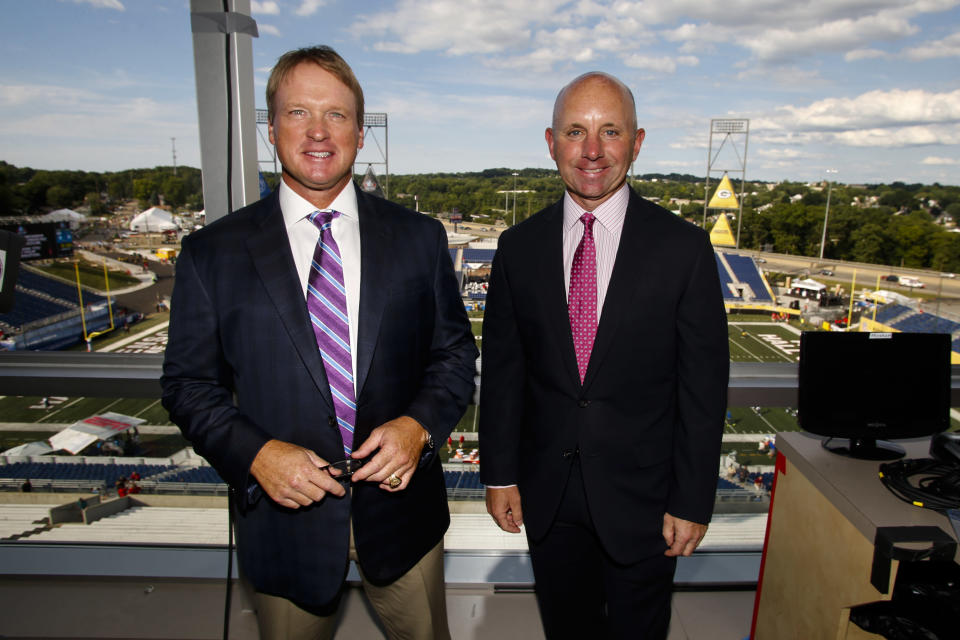 """Former """"Monday Night Football"""" play-by-play voice Sean McDonough, right, explained why he left the franchise to return to broadcasting college football. (AP)"""