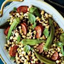 """<p>Dress up a mess of humble field peas with this 4-ingredient side dish that packs a punch of flavor. Simmered okra pods and <a href=""""https://www.myrecipes.com/how-to/cooking-questions/what-is-andouille-sausage"""" rel=""""nofollow noopener"""" target=""""_blank"""" data-ylk=""""slk:spicy andouille sausage"""" class=""""link rapid-noclick-resp"""">spicy andouille sausage</a> make this recipe a perfect pairing for down-home dishes like fried chicken, hamburger steak, and meatloaf. </p>"""
