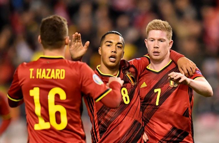 Belgium's Kevin De Bruyne (R) hit out at the format for Euro 2020 after his side beat Cyprus in their final qualifier on Tuesday (AFP Photo/JOHN THYS)