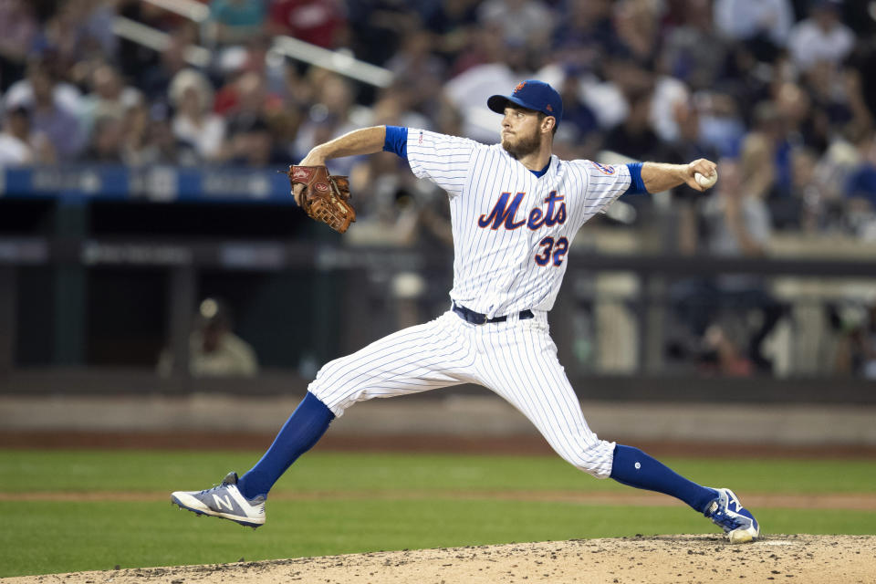 New York Mets starting pitcher Steven Matz delivers against the Cleveland Indians during the sixth inning of a baseball game, Tuesday, Aug. 20, 2019, in New York. (AP Photo/Mary Altaffer)