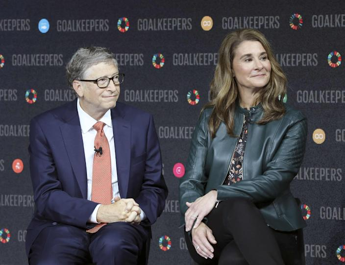 In this file photo taken on September 26, 2018 Bill Gates and his wife Melinda Gates introduce the Goalkeepers event at the Lincoln Center in New York.