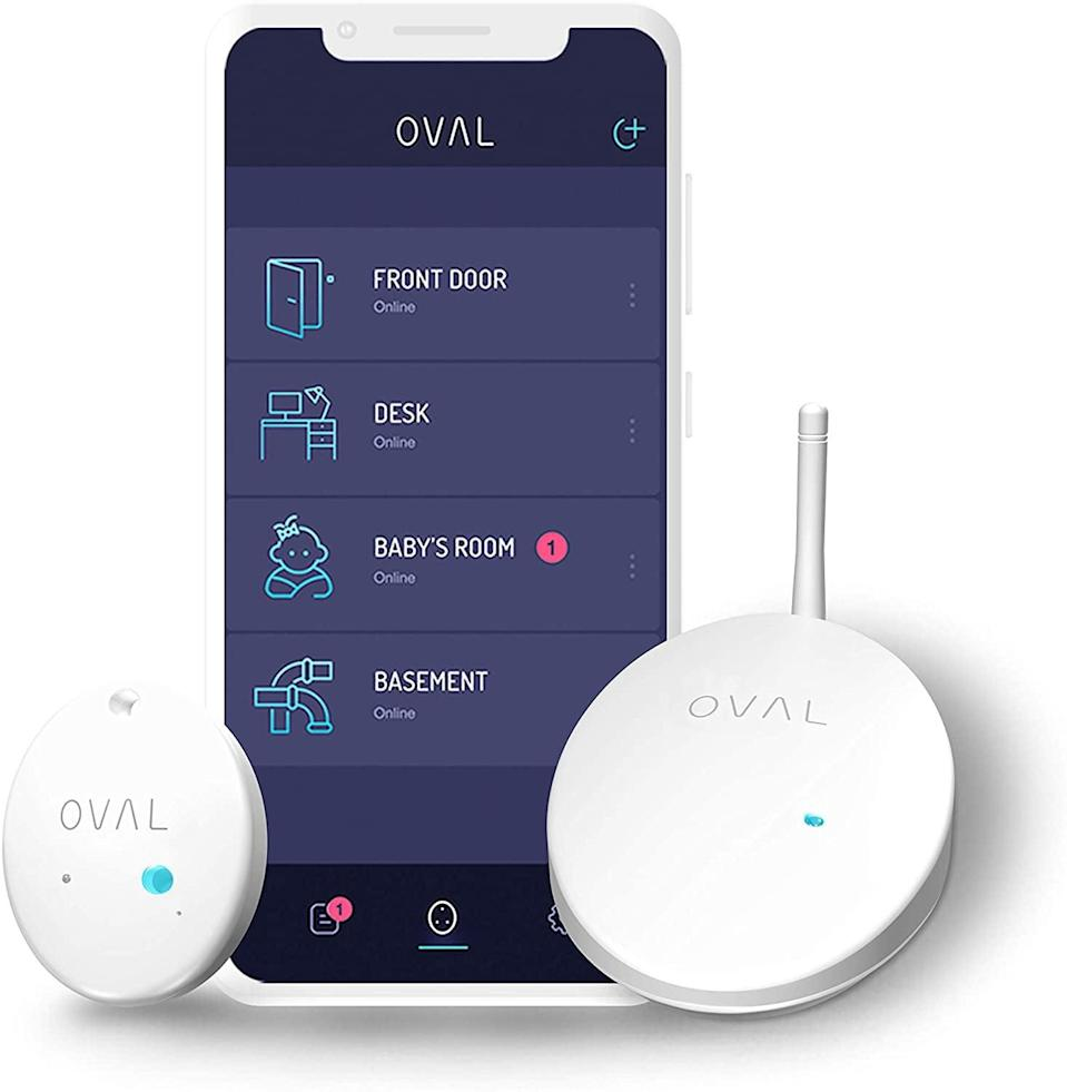 <p>Protect your home with the <span>OVAL Real-Time Monitoring &amp; Alerts 5-in-1 Complete Home Protection </span> ($200) without sacrificing privacy. It comes with one hub and two sensors. It can monitor water, motion, temperature, humidity, and light.</p>