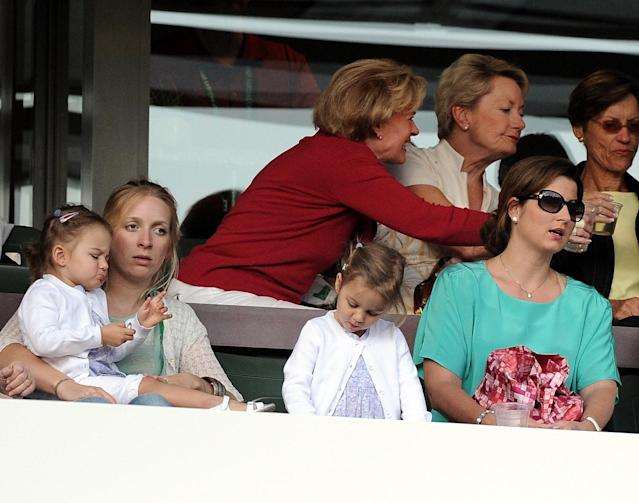 INDIAN WELLS, CA - MARCH 14: Mirka Federer, Miyla Rose Federer and Charlene Riva Federer in attendence during the match between Roger Federer of Switzerland and Tomaz Bellucci of Brazilat the Indian Wells Tennis Garden on March 14, 2012 in Indian Wells, California. (Photo by Harry How/Getty Images)